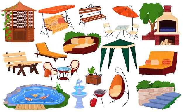 Conjunto de ilustração de móveis de jardim, coleção dos desenhos animados de elementos de jardinagem para mobiliário de piquenique no quintal para o pavilhão de churrasco