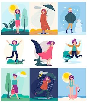 Conjunto de ilustração de mulher caminhando em diferentes estações