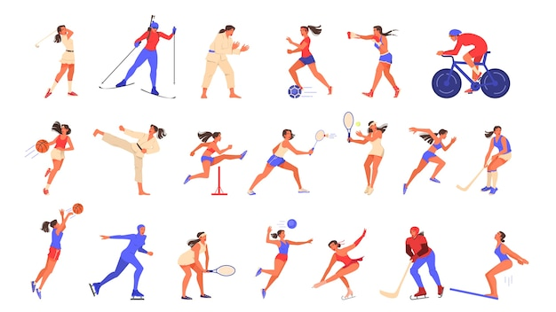 Conjunto de ilustração de mulher fazendo esporte.