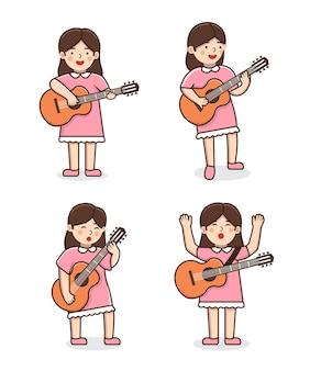 Conjunto de ilustração de mulher guitarrista