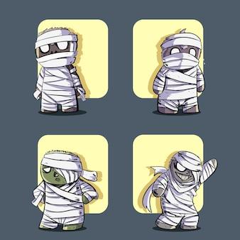 Conjunto de ilustração de múmia fofa de halloween