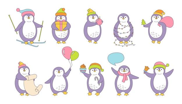 Conjunto de ilustração de natal do pinguim