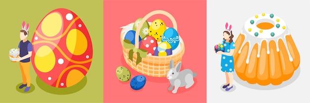 Conjunto de ilustração de ovos e bolos de páscoa