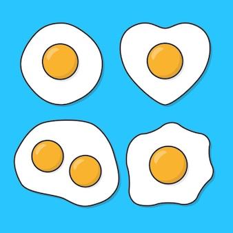 Conjunto de ilustração de ovos fritos. omelette egg flat