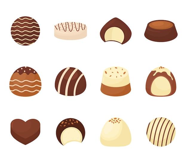 Conjunto de ilustração de pacote de chocolate doce