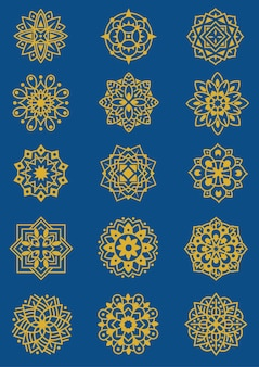 Conjunto de ilustração de padrão de mandala florescer tema floral