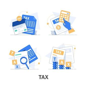 Conjunto de ilustração de pagamento e impostos