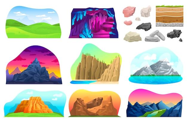 Conjunto de ilustração de paisagem de colina de montanha, coleção dos desenhos animados com pico montanhoso natural rochoso com neve, carrinho de mão, vulcão de rocha