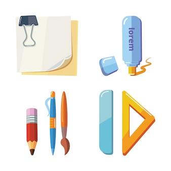Conjunto de ilustração de papelaria dos desenhos animados