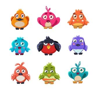 Conjunto de ilustração de pássaros coloridos fofos