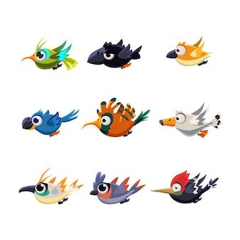 Conjunto de ilustração de pássaros voadores fofos