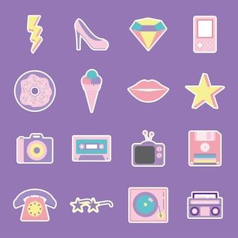 Conjunto de ilustração de patches dos anos 80 e 90