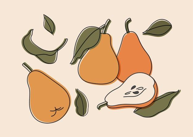 Conjunto de ilustração de peras isoladas