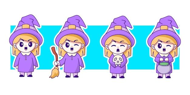 Conjunto de ilustração de personagem de bruxa.