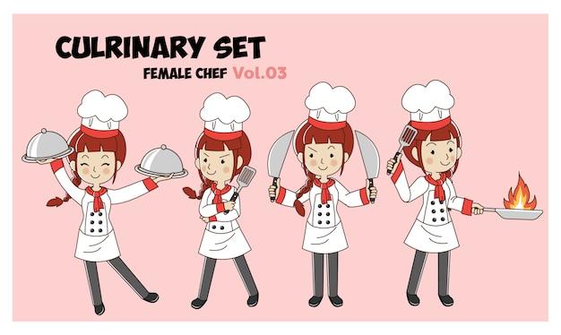 Conjunto de ilustração de personagem de desenho animado culrinary, chef feminino, chefs de cozinha. conjunto de chef profissional