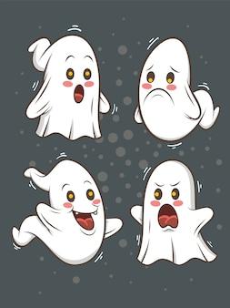 Conjunto de ilustração de personagem de desenho animado fantasma bonito - feliz dia das bruxas