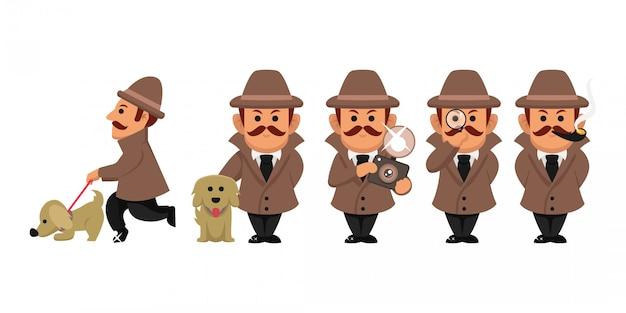 Conjunto de ilustração de personagem de investigação de detetive