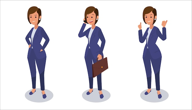 Conjunto de ilustração de personagem de mulher de negócios