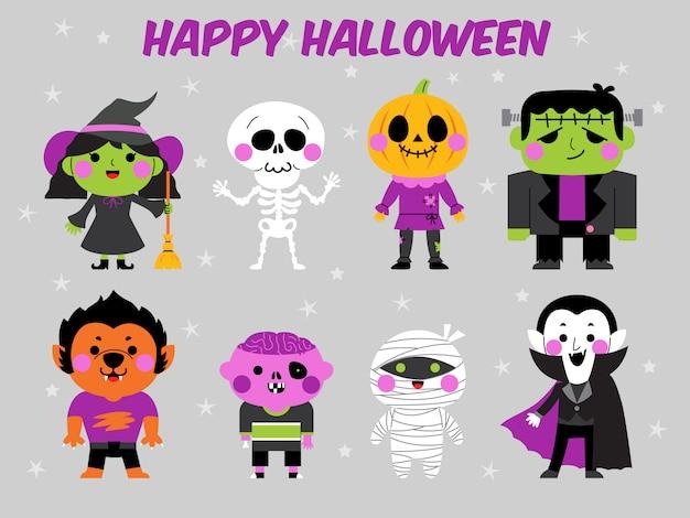 Conjunto de ilustração de personagem feliz dia das bruxas