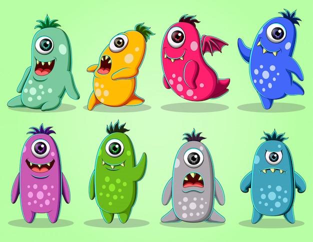 Conjunto de ilustração de personagem monstros bonitinho