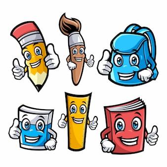 Conjunto de ilustração de personagens da escola