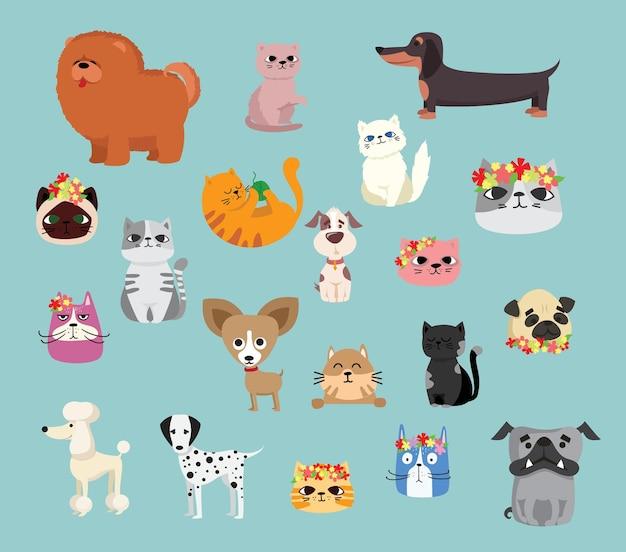 Conjunto de ilustração de personagens de animais de estimação bonitos e engraçados.