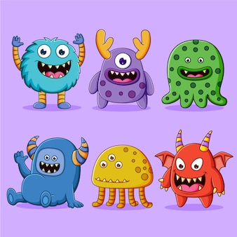 Conjunto de ilustração de personagens de monstros fofos