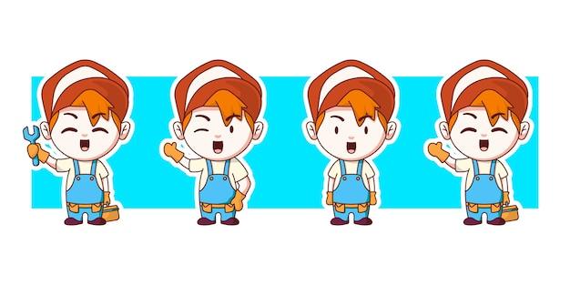 Conjunto de ilustração de personagens de oficina mecânica trabalhador.