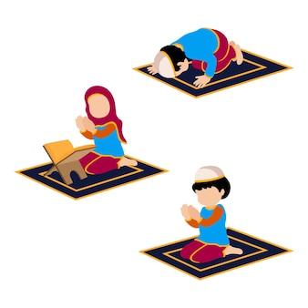 Conjunto de ilustração de personagens islâmicos lendo namaj, reze para allah premium vector