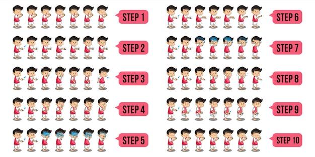 Conjunto de ilustração de personagens muçulmanos que executam wudu passo a passo