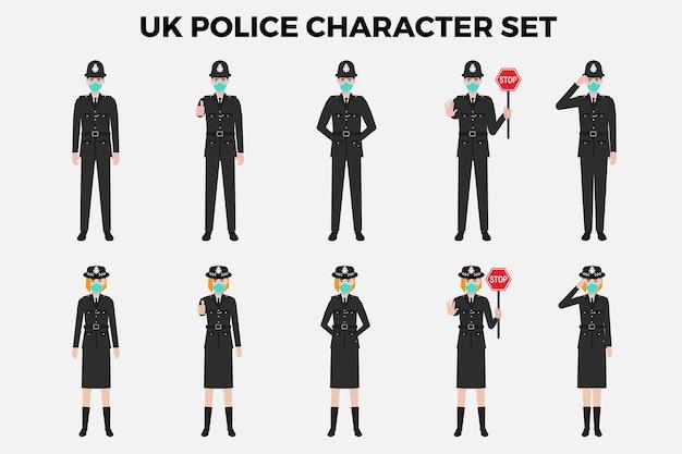 Conjunto de ilustração de personagens policiais do reino unido