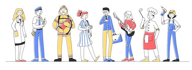 Conjunto de ilustração de personagens profissionais