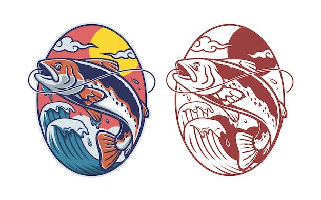Conjunto de ilustração de pesca de truta no estilo japão
