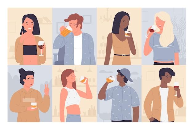 Conjunto de ilustração de pessoas bebendo.