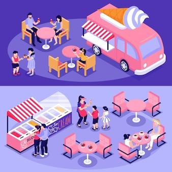 Conjunto de ilustração de pessoas comendo sorvete