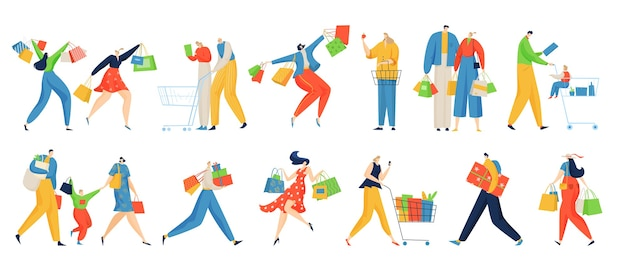 Conjunto de ilustração de pessoas de compras