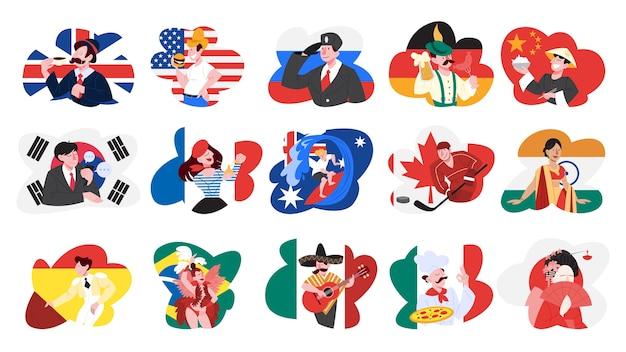 Conjunto de ilustração de pessoas de diferentes países com roupas nacionais. representação de nacionalidade e cultura. ilustração em grande estilo