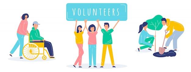 Conjunto de ilustração de pessoas voluntárias