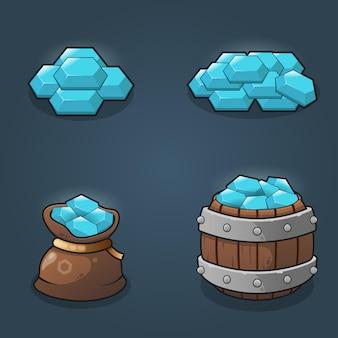 Conjunto de ilustração de pilhas de recompensas de cristal de recursos do jogo