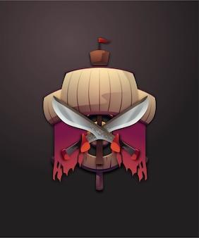 Conjunto de ilustração de piratas 3d distintivo