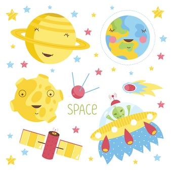 Conjunto de ilustração de planetas dos desenhos animados