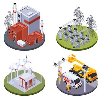 Conjunto de ilustração de planta de produção de eletricidade e fontes alternativas de energia