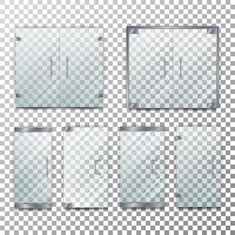Conjunto de ilustração de porta transparente de vidro
