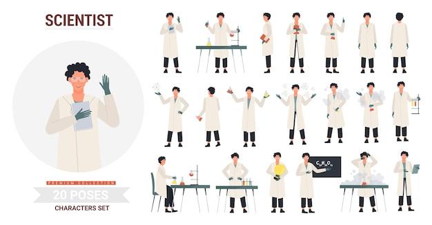 Conjunto de ilustração de poses de cientista.