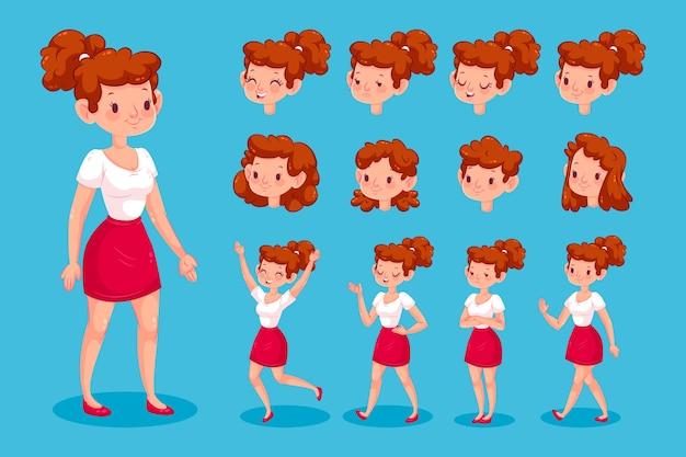 Conjunto de ilustração de poses de personagem feminina