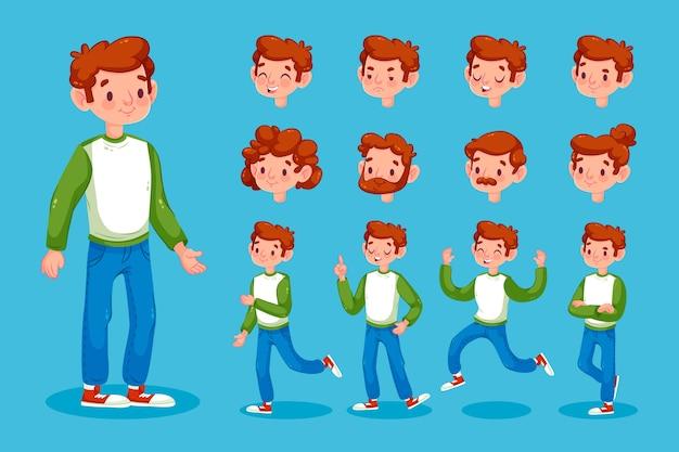 Conjunto de ilustração de poses de personagem masculino