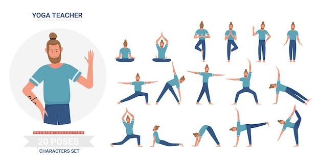Conjunto de ilustração de poses de professor de ioga
