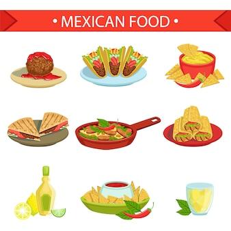 Conjunto de ilustração de pratos famosos de comida mexicana