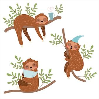 Conjunto de ilustração de preguiças sonolentas. bonitos animais preguiçosos.