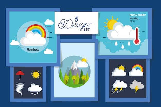 Conjunto de ilustração de previsão do tempo